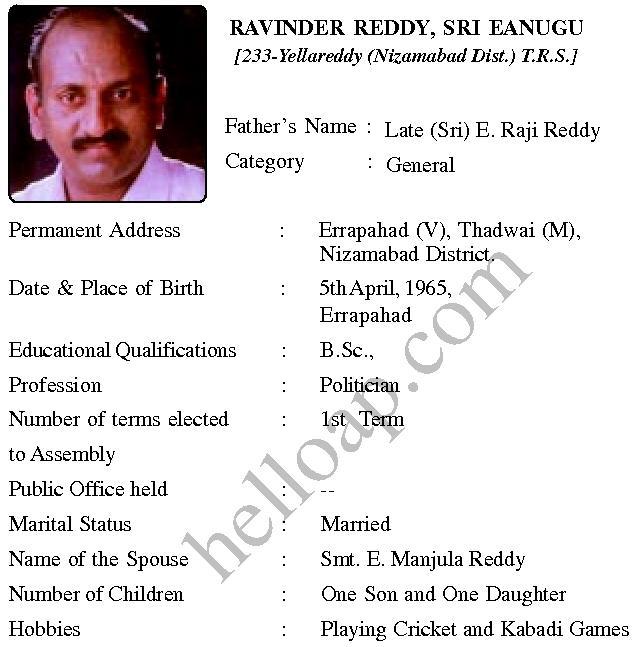 Eanugu Ravinder Reddy TRS