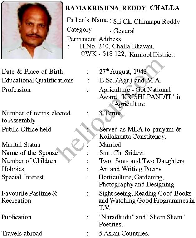 Challa Ramakrishna Reddy Kurnool