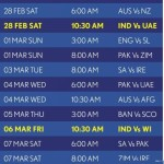 ICC World Cup Cricket Schedule 2015 and India Matches