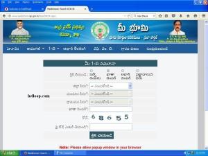 AP Mee Bhoomi Website for Adangal, 1B, FMB, Village Map in