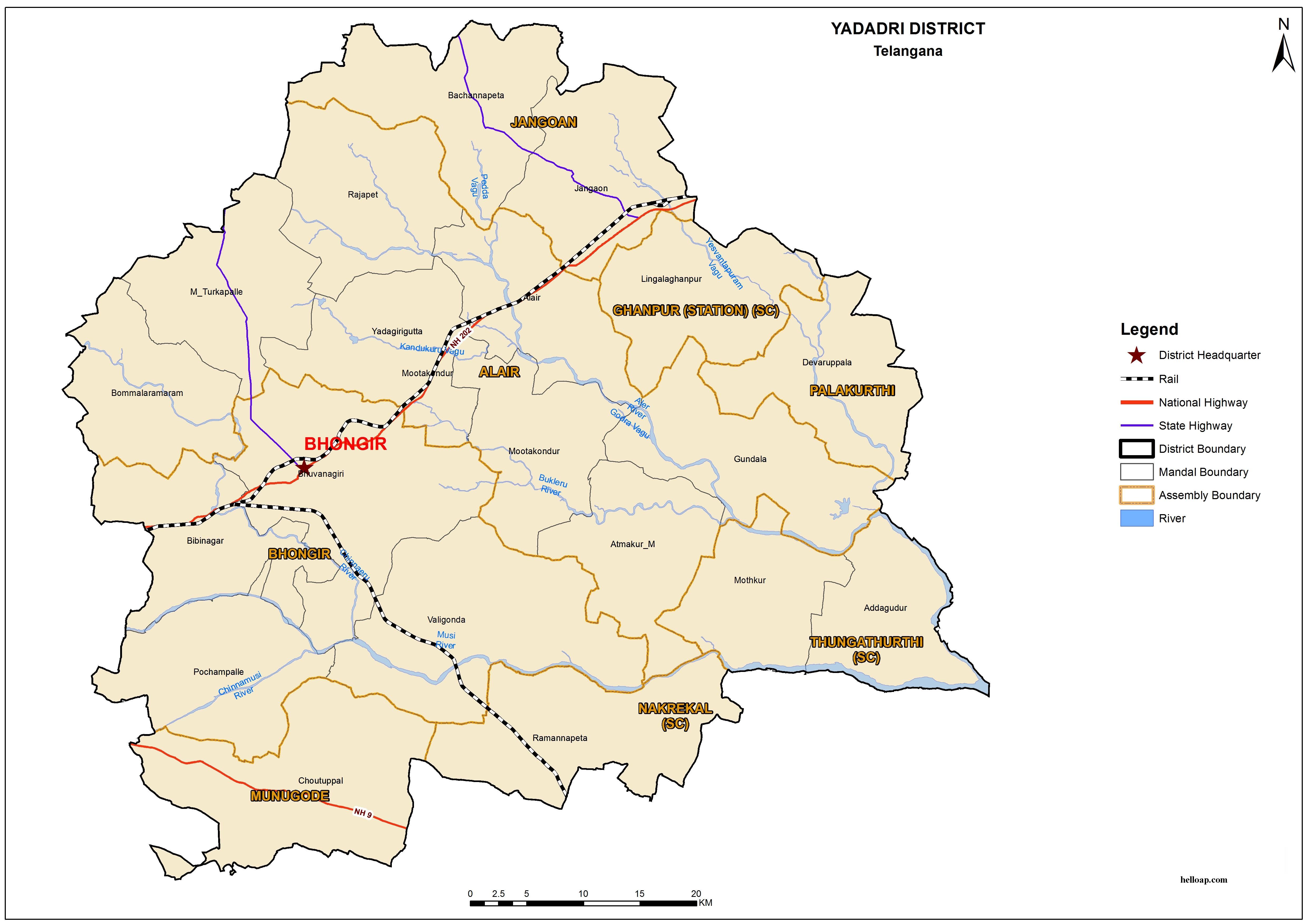Yadadri New District Map, Mandals and Revenue Divisions in